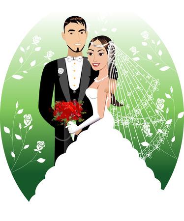 Illustratie. Een mooie bruid en bruidegom op hun trouw dag. Huwelijks Koppel 1.  Stock Illustratie