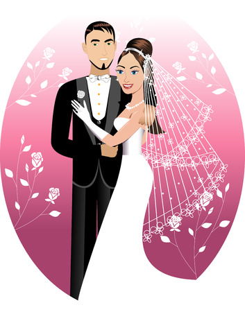 strapless:  Illustration. A beautiful bride and groom on their wedding day. Wedding Couple. I have other variations of wedding brides, bridesmaids and couples.