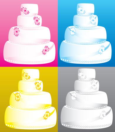 tier:  Illustration of 4 four tier wedding cakes.