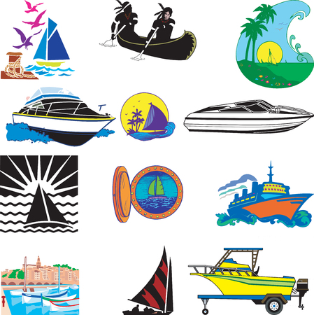 Illustration of 12 different types of Boats.  Vector