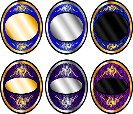Illustration of six oval templates, seals or wine labels.