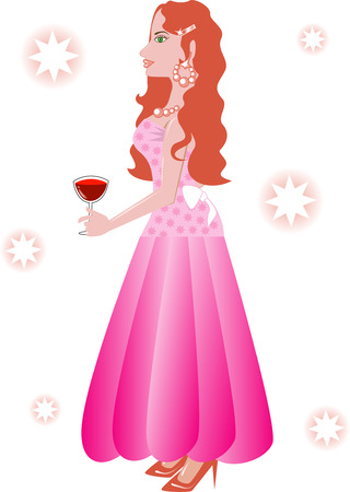 Illustration of Formal Gown 2. A woman holding a glass of wine.