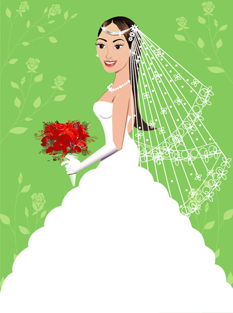 A beautiful brunette woman on her wedding day. Wedding Gown 5. Vector