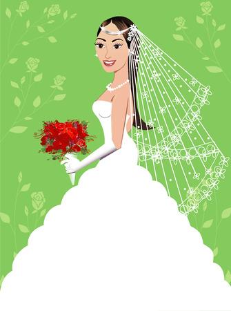 Eine schöne Brünette Frau an ihrem Hochzeitstag. Wedding Gown 5.