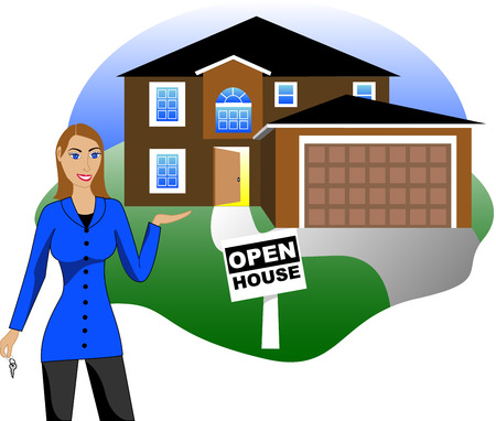 dream house:  Illustration. A real estate agent with keys advertising an open house viewing. Version 4 of 6. Illustration