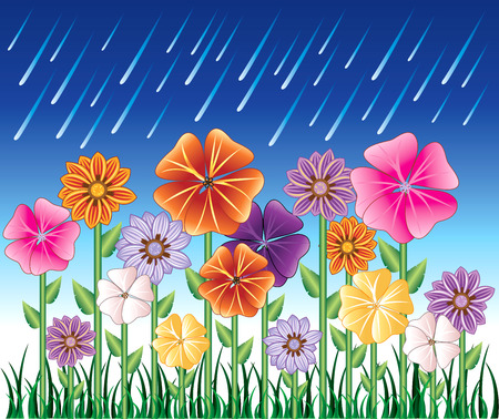 illustration of a Spring Day 2 with Rain and Flower Garden with grass.