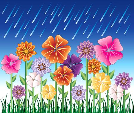 gotas de agua: Ilustraci�n de un d�a de primavera 2 con lluvia y flor de jard�n con c�sped.