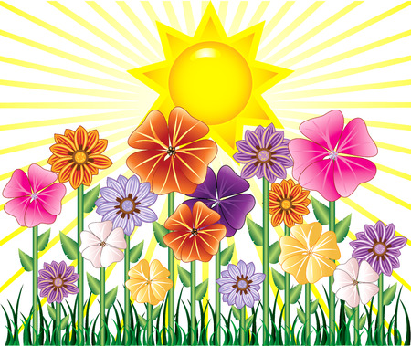 illustratie van een lente met zonne schijn en bloemen tuin met gras.