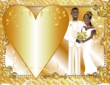 Abbildung beautiful braut und Bräutigam am Hochzeitstag. Kann als Vorlage für Karte oder Einladung verwendet werden. Hochzeit paar 2.  Standard-Bild - 7103694