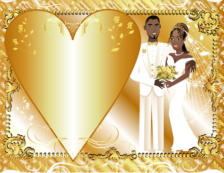african american couple:  Illustration of beautiful bride and groom on their wedding day. Can be used as a template for card or invitation. Wedding Couple 2. Illustration