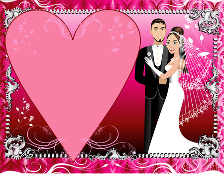 Illustration of a beautiful bride and groom on their wedding day. Wedding Couple 1 with Red, Pink and Silver Background template. Vector