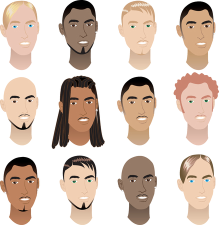 Illustration of 12 men faces. Men Faces #3. Vector
