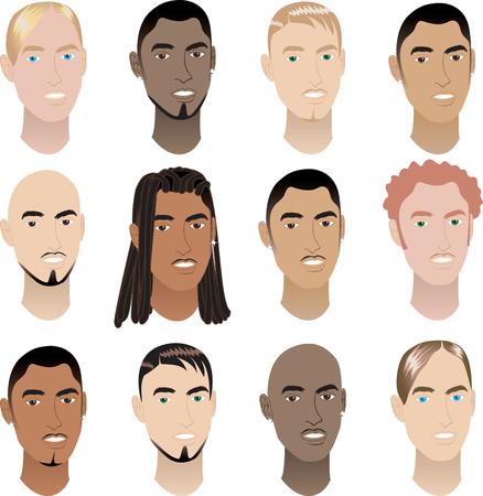 dreadlocks:  Ilustraci�n de caras de 12 hombres. Caras de hombres # 3.
