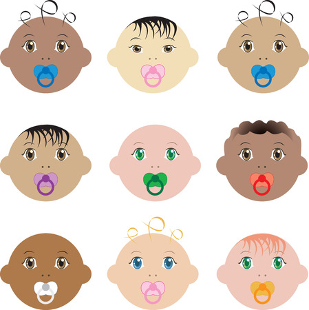 Illustration of nine boy and girl baby faces of different races. 일러스트