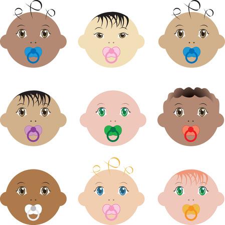 Illustratie van negen jongen en meisje baby gezichten van verschillende rassen.