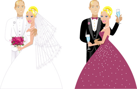 Illustration. A beautiful bride and groom on their wedding day and a formal special occasion. Double Couple 1. Vector