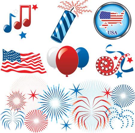 juli: 4 juli Independence. Set van pictogrammen en knoppen.  Stock Illustratie