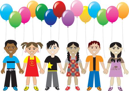 tu puedes: seis ni�os felices cute con globos. Puede utilizarse como una invitaci�n, tarjetas de felicitaci�n, p�ster de gracias y mucho m�s.  Vectores