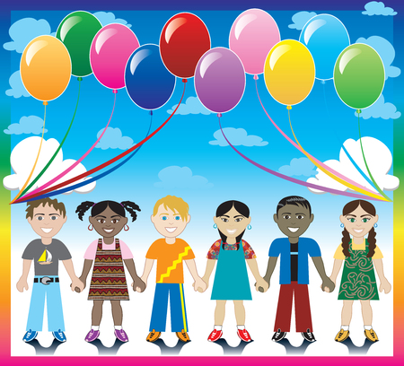 6 happy kids under a rainbow with a colorful background and a place for text or imagery.  Ilustrace