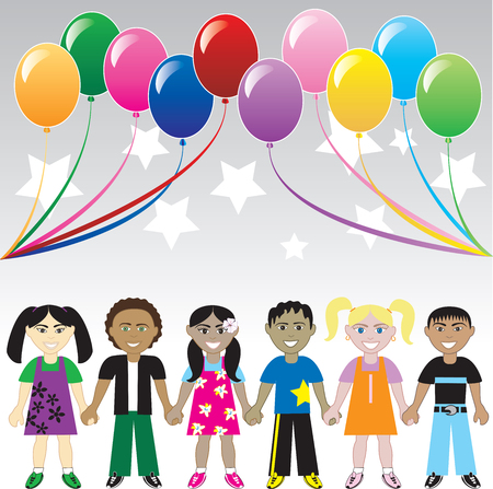 biracial: Six children holding hands under colorful ballons and stars. Card, Cover, Invitation or web.