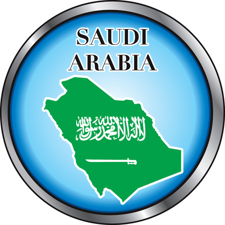 Illustration for Saudi Arabia, Round Button.  Vector