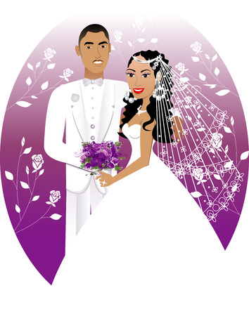 Illustration. A beautiful bride and groom on their wedding day.  Vector