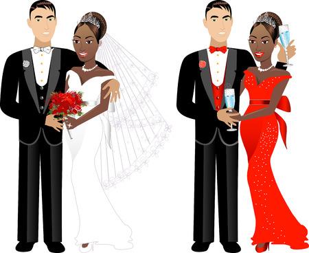 interracial: Una hermosa novia y el novio en el d�a de su boda. Pareja de boda  Vectores