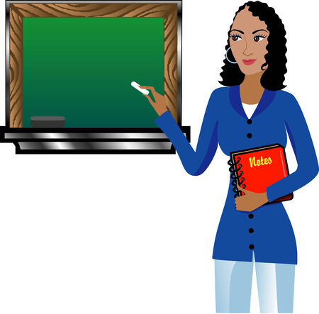 Teacher with Chalkboard and notebook. There is room for text. See others in this series.