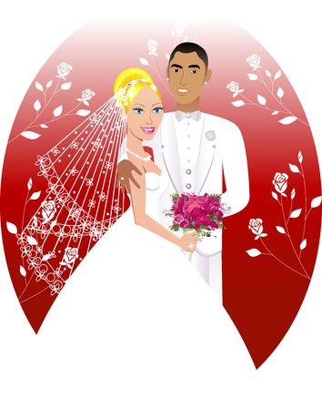 Illustration. A beautiful bride and groom on their wedding day.