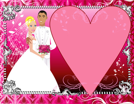 A beautiful bride and groom on their wedding day. Wedding Couple Vector