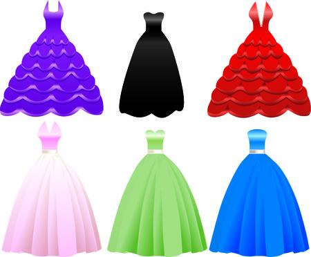 Illustratie van iFormal Gown Dress pictogrammen. Kan ook worden gebruikt voor mode, banketten, Sweet Sixteen, Quinceanera, bruiloft of prom.