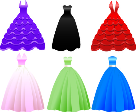 Illustration of iFormal Gown Dress Icons. May also be used for Fashion, Banquets, Sweet Sixteen, Quinceanera, Wedding or Prom.
