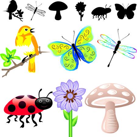 Illustration de 6 printemps été icônes et silhouettes. Facile à modifier des éléments.  Banque d'images - 7234145