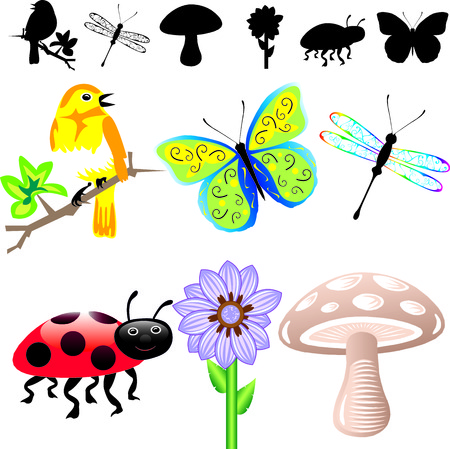 Ilustración de 6 primavera verano iconos y siluetas. Fácil de editar elementos.  Foto de archivo - 7234145