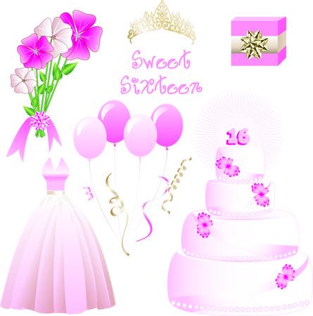 flores fucsia: Ilustraci�n vectorial de iconos para una fiesta de cumplea�os de diecis�is dulce. Tambi�n puede utilizarse para Quinceanera, bodas o Prom.