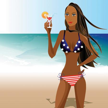 caribbean party: Ilustraci�n de una hermosa joven en bikini bandera, hay espacio para el texto.