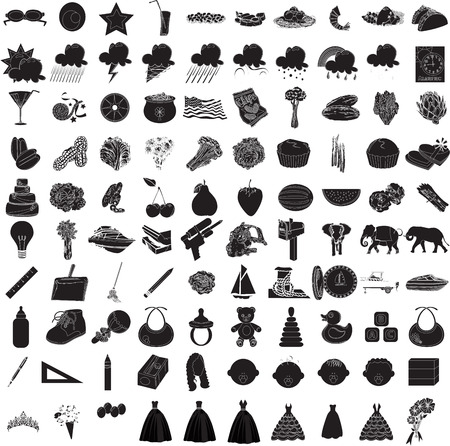 Illustraties van 100 icon set 3
