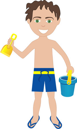 Vector of brunette boy in swimsuit with sand bucket and shovel. Illustration