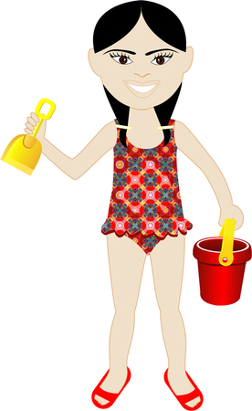 spring out: Vector de ni�a asi�tica en traje de ba�o con arena de cubo y pala.