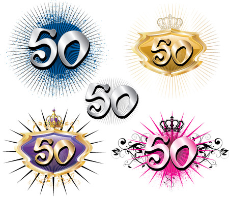 50th: Illustration for Special Birthdays Anniversaries and Occasions. Great for t-shirt or cards. Illustration