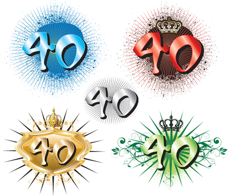 40th: Illustration for Special Birthdays Anniversaries and Occasions. Great for t-shirt or cards. Illustration