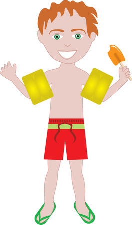 ponytails: red hair boy in swimsuit with arm floats and ice cream Illustration