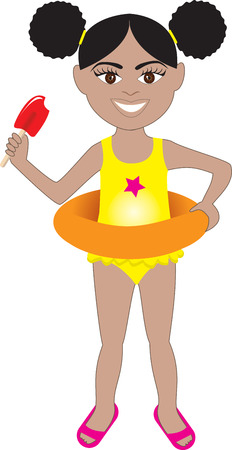 little girl smiling: Afro girl in swimsuit with sand bucket and shovel. Illustration