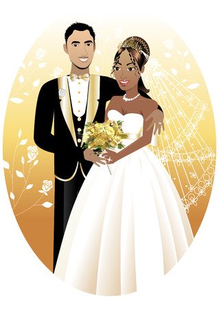Illustration. A beautiful bride and groom on their wedding day. Interracial Wedding Couple. Stock Illustratie