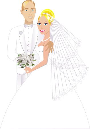 strapless: Vector Illustration. A beautiful bride and groom on their wedding day and a formal special occasion. Newly Weds 3.