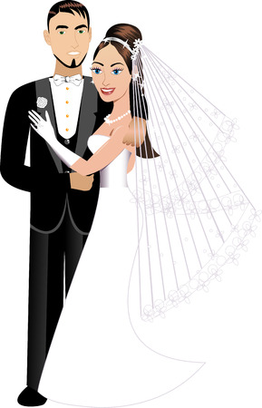 strapless dress: Vector Illustration. A beautiful bride and groom on their wedding day. Wedding Couple 1.