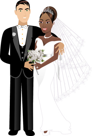 新婚異人種間のカップル 1  イラスト・ベクター素材