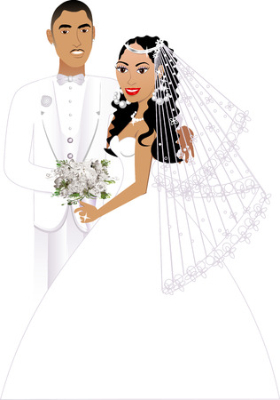 biracial: Vector Illustration. A beautiful bride and groom on their wedding day. Wedding Couple 5. Illustration