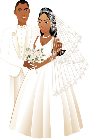 wedding dress: Vector Illustration. A beautiful bride and groom on their wedding day. African American Wedding Couple.