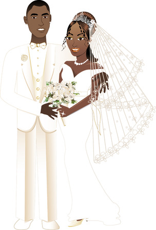 Vector Illustration. A beautiful bride and groom on their wedding day. African American Wedding Couple.